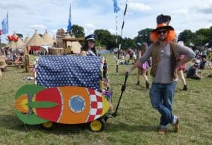 Rocket ship decorated festival trolley for kids
